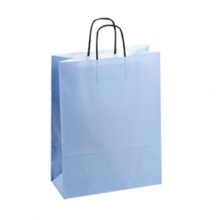 Light Blue Kraft Paper Carrier Bags