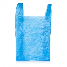 Blue 50% Recycled High Density Vest Style Carrier Bags - 280 x 410 x 510mm